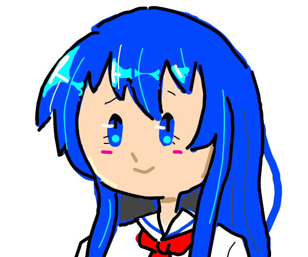 Blue haired anime girl with blue eyes