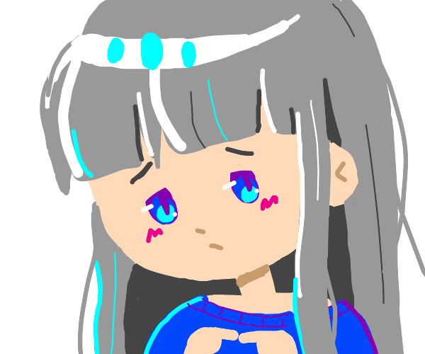 grey haired anime girl is shy