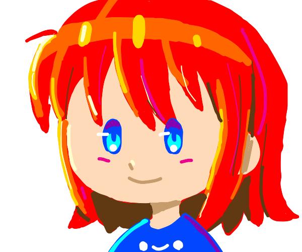 Redheaded blueyed girl