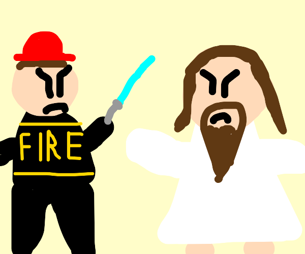 fire man with lightsaber battles jesus