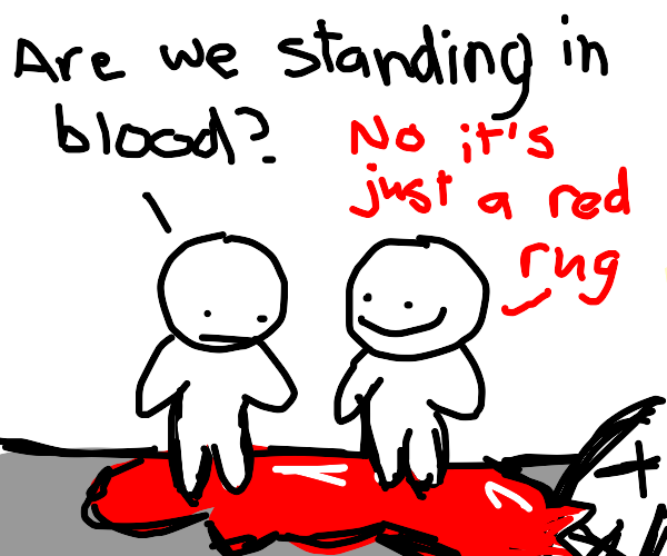 Supposedly that's a red rug, not blood.