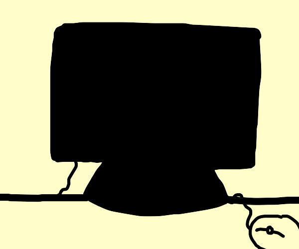 silouette of computer screen