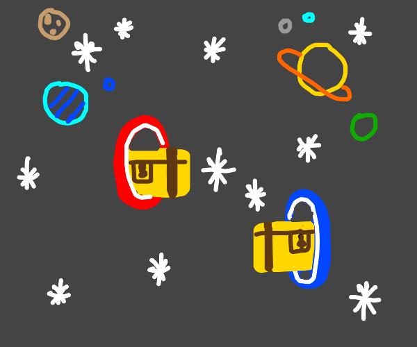 Treasure chest goes through a space portal
