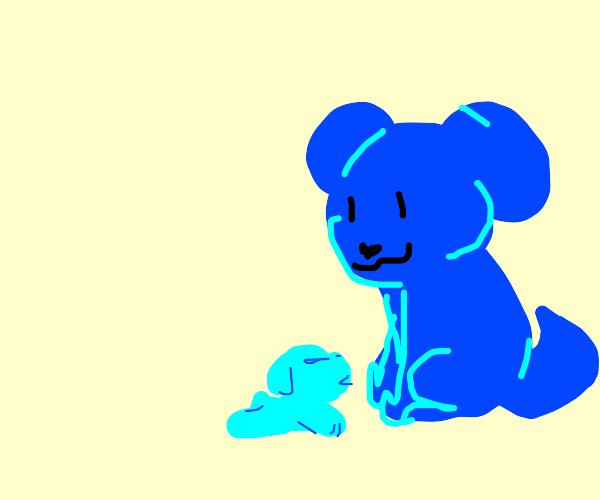 Blue dog has a puppy