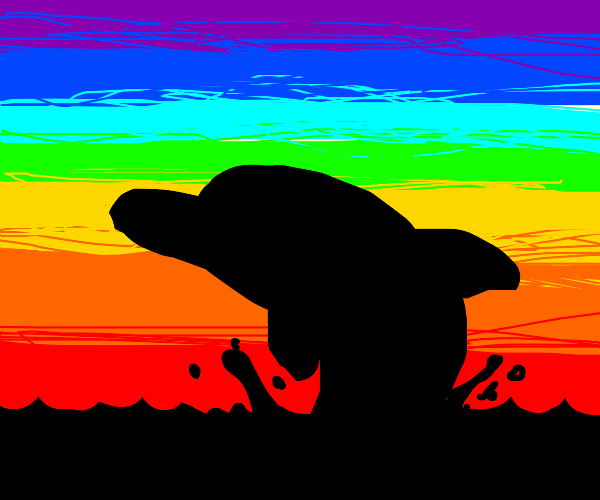 Dolphin with water spout and rainbow sky