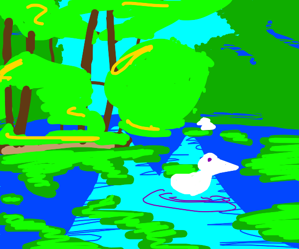 Landscape with trees, river and ducks
