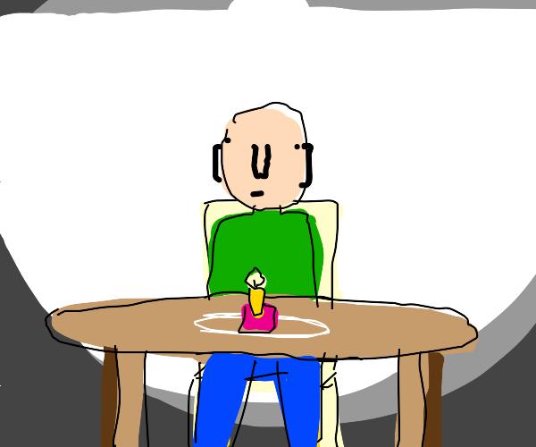 Man celebrating birthday alone