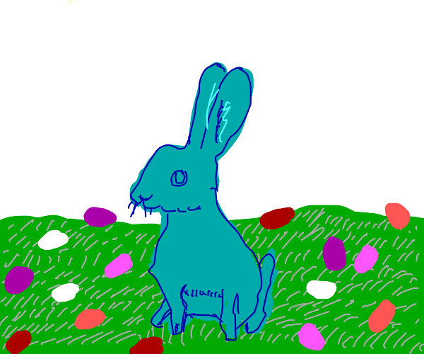 blue bunny surrounded by colorful eggs