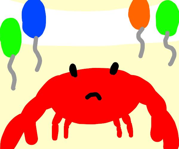 crab isnt enjoying the party