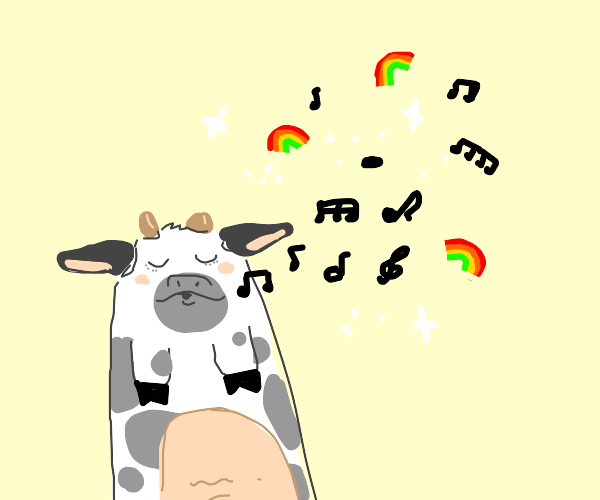 Cow singing about rainbows