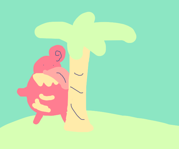 a pokemon with a large tongue licks a tree