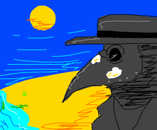 Plague Doctor at the beach