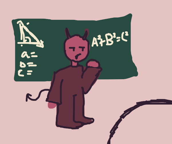 Guy with devil horns teaches you math