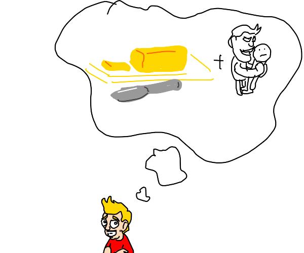 Little blonde wants butter & hugs from boys
