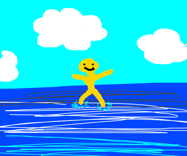 Happy man on the ocean