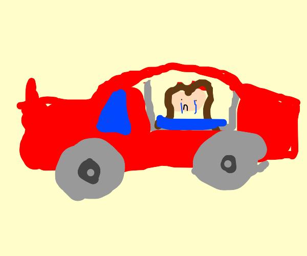 sad lil girl in a car gazing thru window