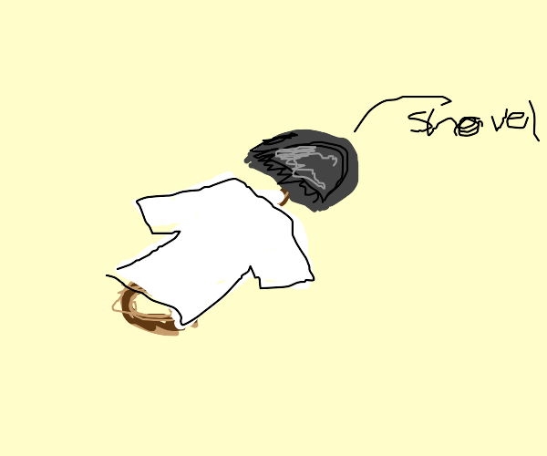 shovel wearing a white shirt