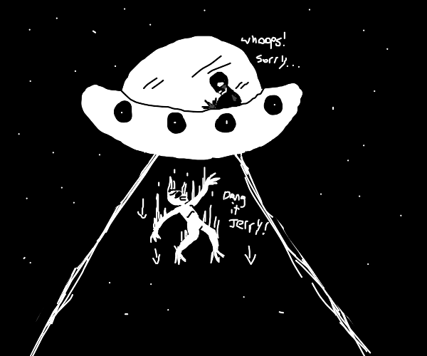 Alien falls out of UFO