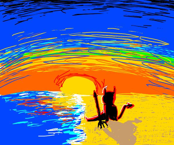 satan on beach watching the sunset