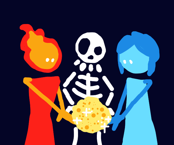 Fire&Ice dude and funky skeleton create gold