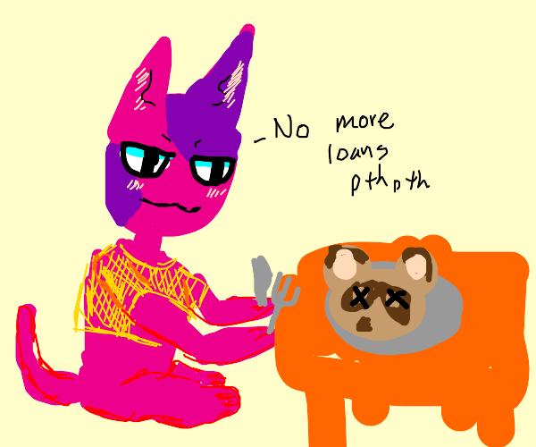 Cat eats Tom Nook to avoid debt