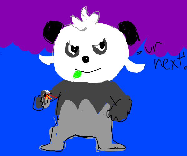 Pancham (Pokémon) grins at you with a gunny