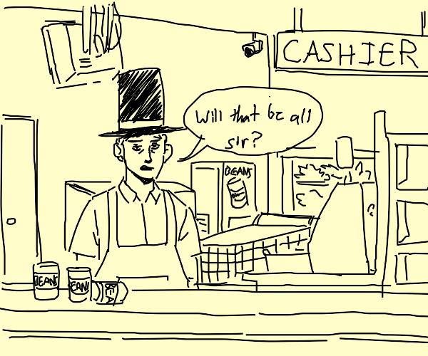 Cashier wearing a Hat