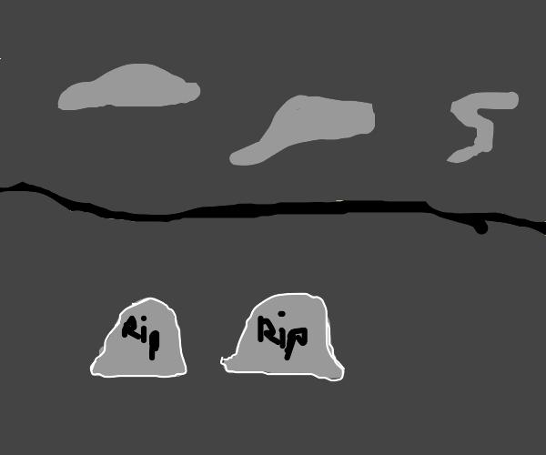 a graveyard full of smoke