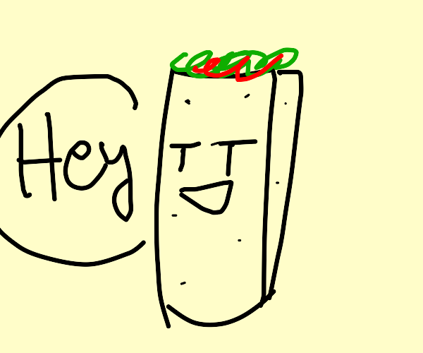 Burrito with face saying hey