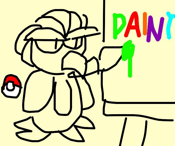 Pidgey painting a paint