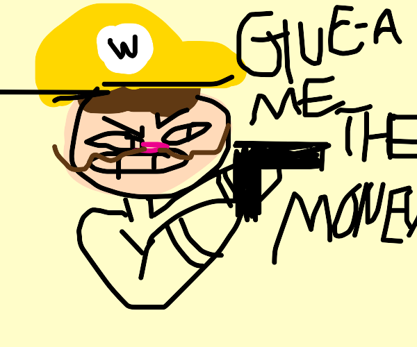 Wario robbing a bank