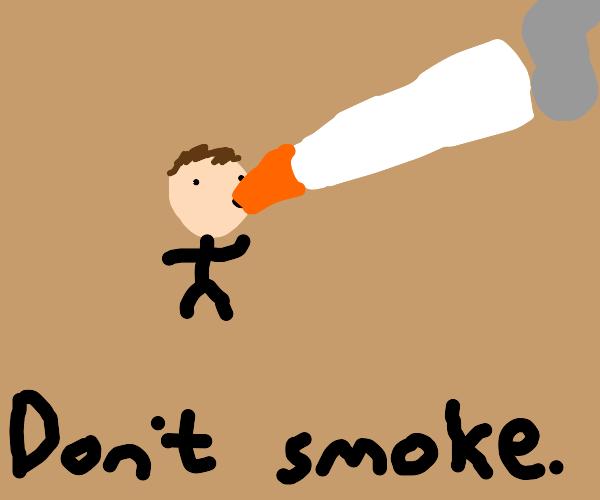 """boy smokes very big cigarrete """"(don't smoke)"""""""