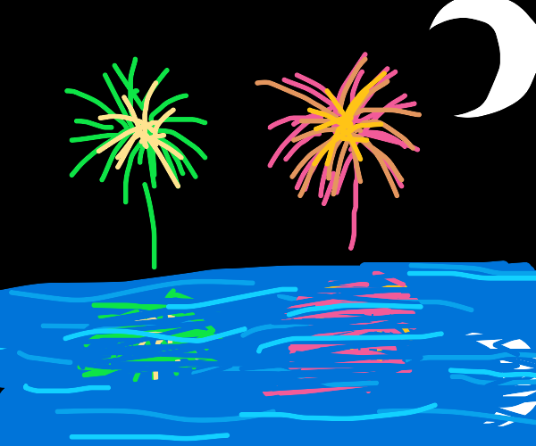 firework show over water