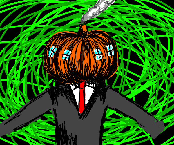 Pumpkin house that landed on a person's head
