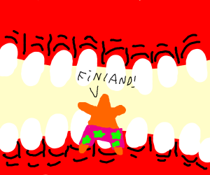 patrick in mouth of a gaint sees Finland