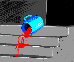 a cup filled with blood falling of the stair