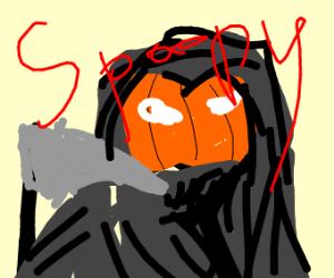 A pumpkin grim reaper saying spoopy