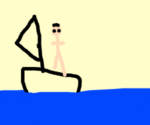 Naked man on a boat