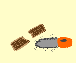 chocolate bar gets cut in half by chainsaw