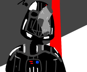 Darth Vader has something on his face