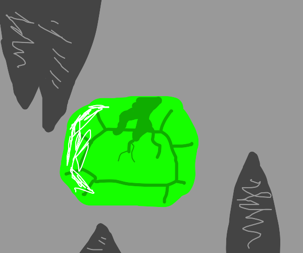 A gemstone is cracked