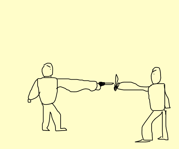 Long arms guys fighting each other with knife