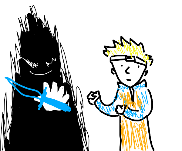 Naruto faces a shadow guy with a sword hand