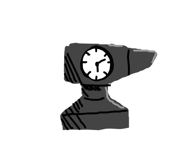 A clock shaped like an anvil