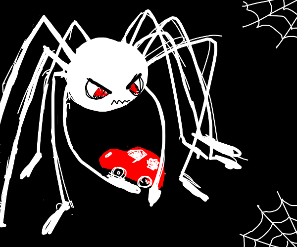 Giant spider eating a car