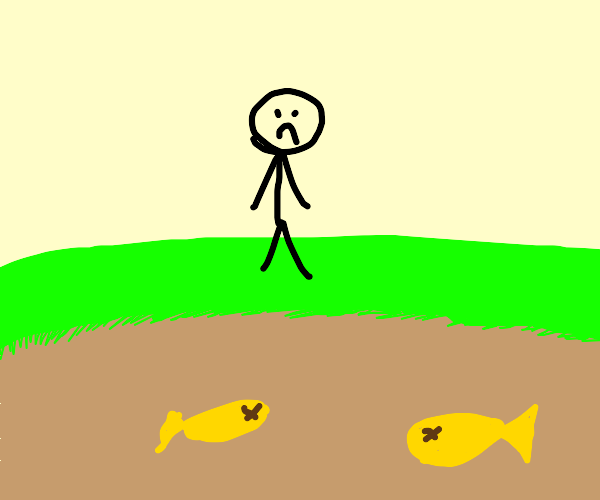 sad kid sees dead fish in dryied lake