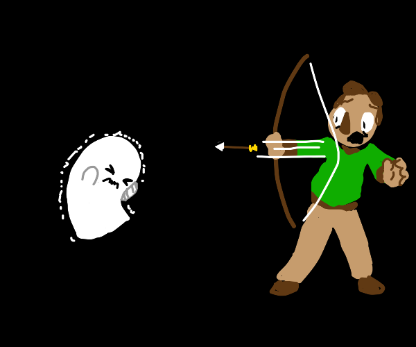shooting arrows at ghosts