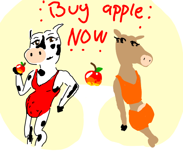 a cow models for an apple(fruit) advertisment