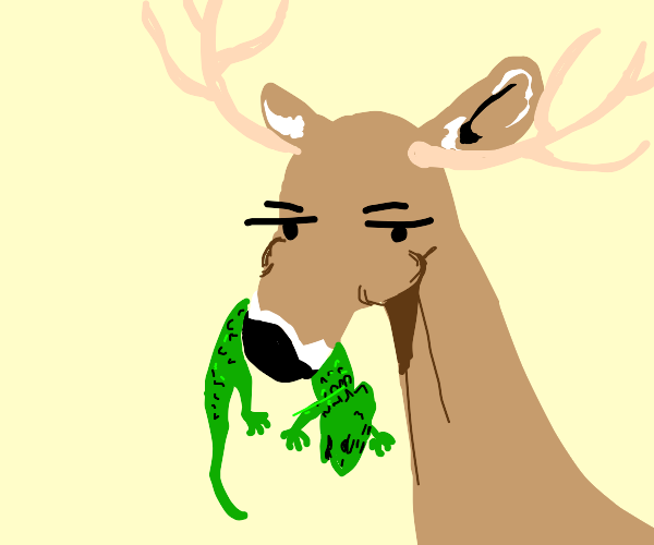 A deer eating an iguana disappointedly
