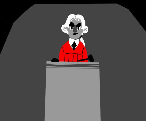 judge in red coat